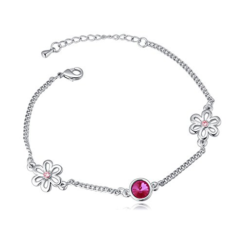 Sweet Diamonds Bracelet (Royarebar Elegant Cosmetics Bracelet Extravagance Women's Jewelry Lastest Crystal Bracelet Sweet Diamond Flower-Shaped Bracelet(Rosy))
