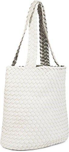 sac 2 réversible tressé sacs effet à styleBREAKER sacs cabas Blanc Menthe en ensemble femmes Argenté main avec 02012182 Sac à main 2 de 1 couleur 7AIw5qxa5
