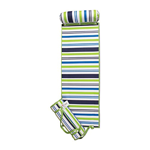 ADI American Dawn Outdoor Living Rolled Beach Mat, Blue/Green Stripe]()