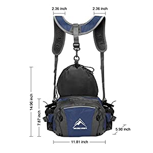 Hiking Waist Pack, MALEDEN Outdoor Water Resistant Lumbar Pack Bag with Water Bottle Holder and Shoulder Backpack for Camping Cycling Hunting and Travel Fanny Pack for Women Men