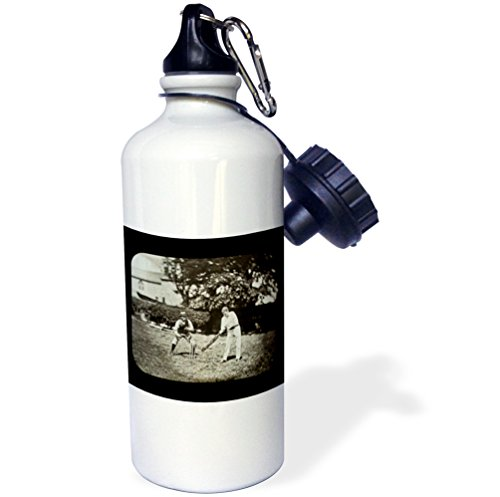3dRose wb_16135_1 ''Vintage British Cricket Game Grayscale'' Sports Water Bottle, 21 oz, White by 3dRose