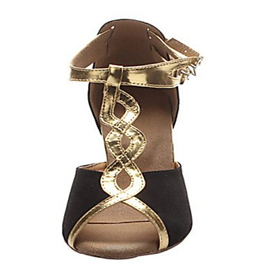 XIAMUO Anpassbare Damen Tanzschuhe Latin/Jazz/Swing Schuhe/Salsa/Samba Beflockung angepasste Ferse Schwarz, Gold, uns 4-4,5/EU 34/ UK 2-2,5/CN33