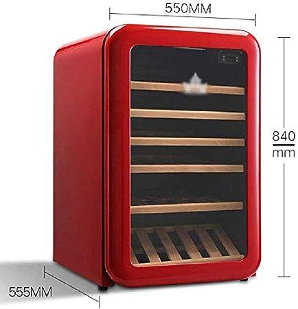 Refrigerador Retro para Bodega, Enfriador/Enfriador de Vino Tinto/Blanco Independiente para 30 Botellas, Almacenamiento a Temperatura Constante de 5 ° C a 18 ° C (Color: Rojo)