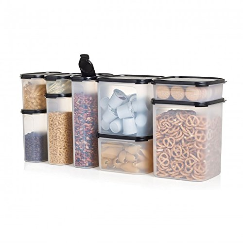 Modular Mates Set - Counter and Cabinet Storage Container Food Set Modular Mates Tupperware Black 9 Piece Oval & Square