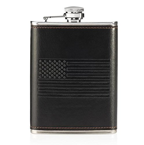 OUTZIE-Slim-Hip-Flask-with-Soft-Touch-Cover-and-Funnel-8-Ounce-Black