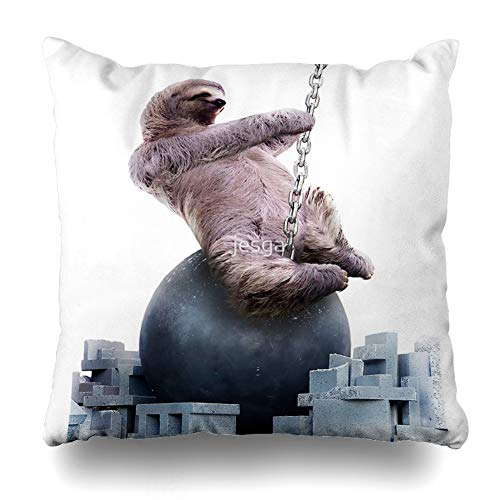 Ahawoso Throw Pillow Cover Square 20x20 Inches Wrecking Ball Sloth Decorative Pillow Case Home Decor Pillowcase (Wrecking Ball Best Cover)