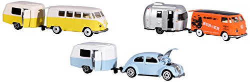 Dickie Majorette 212052014Vintage Trailer Assortment, Miniature Die Cast Vehicles Set with Vehicle and Trailer, 3Different Models, 7, 5cm