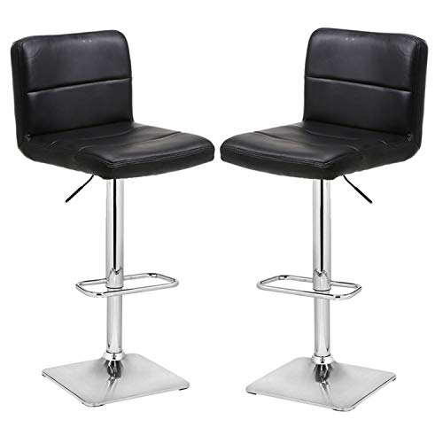 28 Inch Chrome Base - Modern Swivel Barstools with Chrome Base, Adjustable Counter Height Bar Stool, Black PU Leather Padded with Back, Set of 2, Hold Up to 350lbs