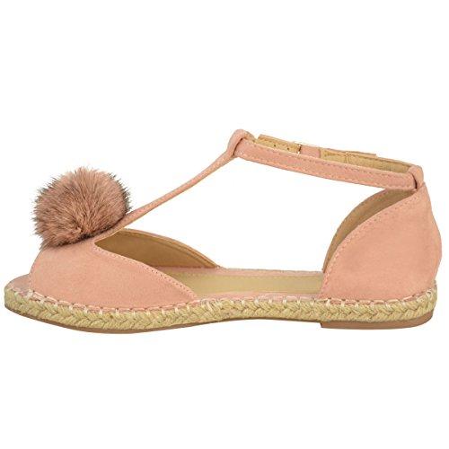Fashion Thirsty Womens Flat Espadrilles Sandals Pom Pom Plimpsolls Ankle Strap Shoes Size Pink Faux Suede xt4iaLGIt1