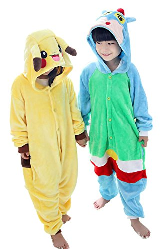 "Tjia Winter Kid Cosplay Crayon Shin Flannel Animal Pajamas (XXS (37""- 41""), yellow)"