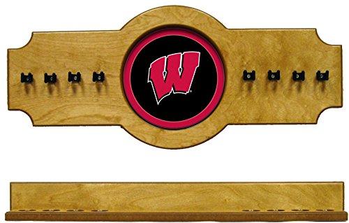 - NCAA Wisconsin Badgers UWICRR100-O 2 pc Hanging Wall Pool Cue Stick Holder Rack - Oak