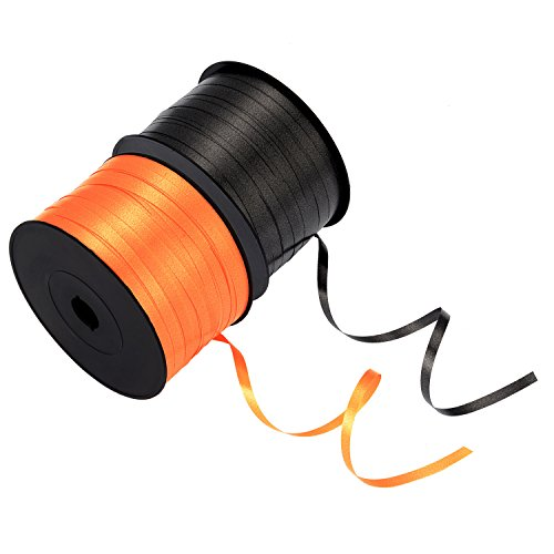(BBTO Black and Orange Balloon Ribbon Rolls Curling Crimped Ribbons Spool for Party Festival Halloween Decoration Crafts Gift Wrapping, 5 mm by 500 Yard in Total)