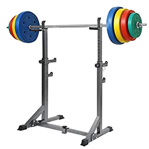 GY613 Adjustable Barbell Rack Squat Stand – Weight Lifting Bench Press Pull Up Bar Gym 660LBS Max Load, Multi-Function Weight Lifting Home Gym Fitness
