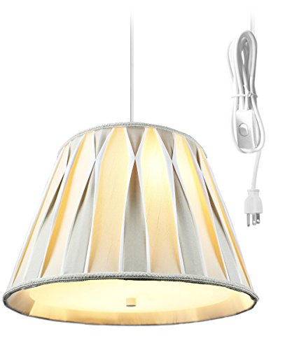 2 Light Plug-In Pendant Light By Home Concept - Hanging Swag Lamp with Diffuser - Perfect for apartments, dorms, no wiring needed (Egg Shell/White, White Two Light) Brass Pleat Shade Plug