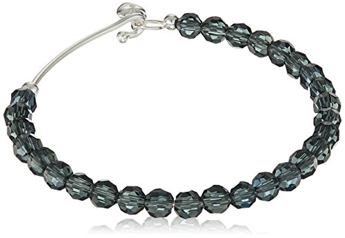 Silver Plated Montana Blue Crystal Catch Bangle with Heart Charm