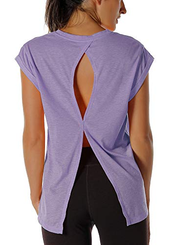 icyzone Open Back Workout Top Shirts - Yoga t-Shirts Activewear Exercise Tops for Women (XS, Lavender)