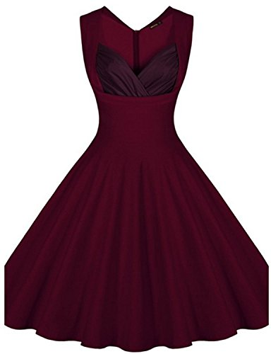 [bridesmaid dress 1950s Polka Flower Pattern Vintage Swing WINE 2XL] (1950 Dress)