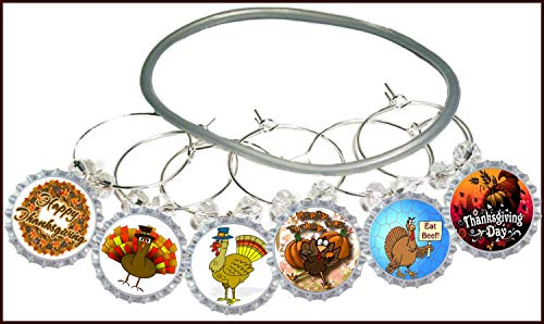 Thanksgiving Glass (Thanksgiving Wine Charms Turkey Time Glass Identifier Tags - 6 wine charms)