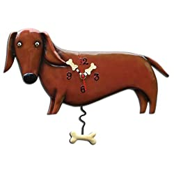 Allen Designs P9018 Swinging Pendulum Clock Oscar the Dachshund 16.25 Inches X 11 Inches