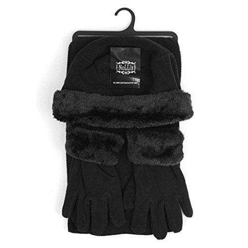 3 Piece Winter Gloves (Women's Black Solid Polyester Fleece 3-Piece gloves scarf Hat Winter Set WSET60)