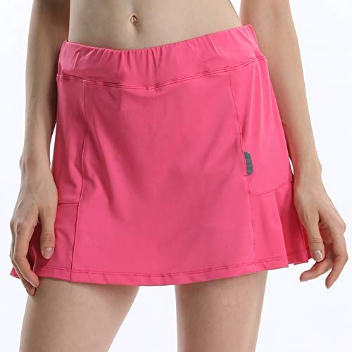 Women's Workout Active Skorts Sports Tennis Golf Skirt Built-in Shorts Pink Tag ()