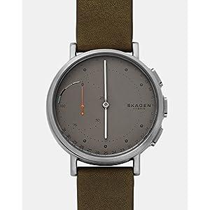 Skagen Connected Men's Signatur Titanium and Leather Hybrid Smartwatch, Color: Silver-Tone, Green (Model: SKT1114)