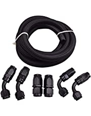 "EVIL ENERGY 6AN 3/8"" Nylon Stainless Steel Braided CPE 5/16 IN ID Fuel Line and Swivel Hose End Fittings Kit 10FT"