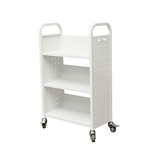 TARAXACUM Movable Book Truck Single Sided Heavy Duty Shelf Book Car K-D Packing Structure Bookcase, 32''L x 14''w x 46'' H, White