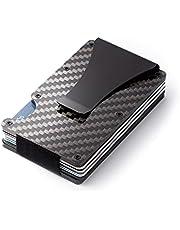 Ancocs Etui na karty kredytowe z klamrą na pieniądze dla kobiet i mężczyzn, ochrona RFID i NFC z włókna węglowego (2019 nowy), czarne włókno węglowe., 8.6*5.4*1.2cm,
