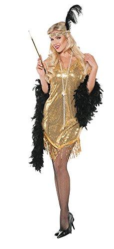Women's Sequin Flapper Costume - Swingin Gold (Bonnie Clyde Costume)