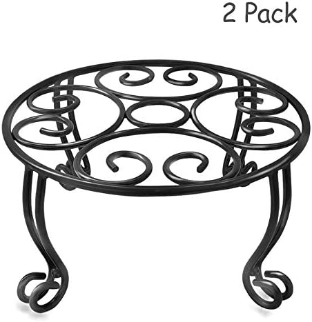 2 Pack Plant Stand Indoor Outdoor for Flower Pot Metal Garden Container Round Supports Rack,11.8 Inches Black