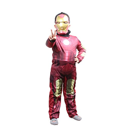 Halloween Kids Iron Armor Style Mask & Jumpsuit Outfit Suit Costume L (Iron Man Cosplay Armor)