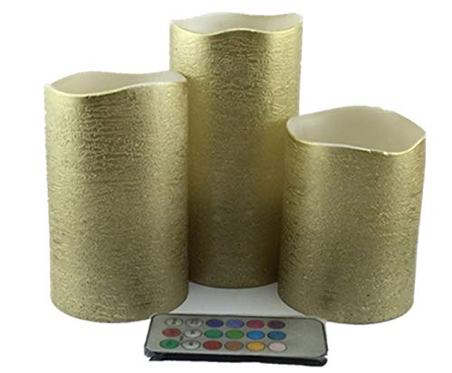 Gold flameless candles with timer,real wax color changing flicker with rustic effect,battery operated pillar set of 3 ,tall 4