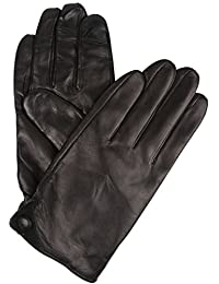 Sakkas 16170 - Damen Mens Classic Touch Screen Compatible Real Leather Gloves - Black - XL