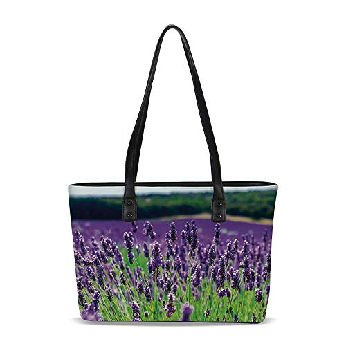 Lavender PU Shoulder Tote Bag,Scenic Field in France Fragrant Blooming Countrys