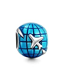 Travel Around The World Charm 925 Sterling Silver Fit Pandora Charms