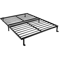 GreenForest Folding Bed Base Frame Full Size Foldable Metal Platform Bed Frame Box Spring Replacement Mattress Foundation with Wheels