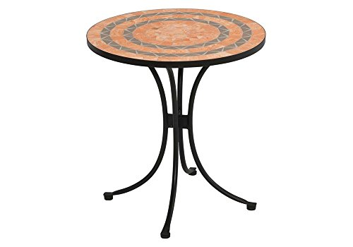 Terra Cotta Bistro Table - Outdoor Terra Cotta Bistro Table Terra Cotta And Gray Tile Top/Black Finish Dimensions: 30