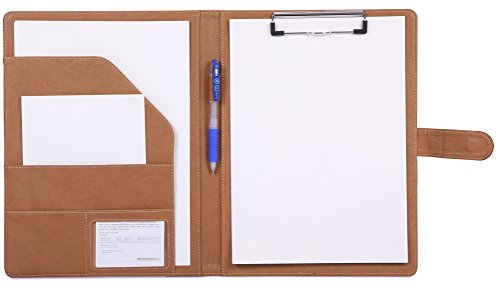 Clipboard Folder Padfolio Clipboard, Mymazn Writing Portfolio Faux Leather Clipboard With Cover for Legal Pad Holder Letter Size A4 8.5 x 11 for Business Conference Notepad Clip Boards Brown Tan