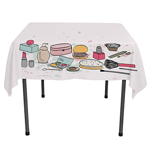 Makeup Holiday Tablecloth Cosmetics Fashion Lipstick Mascara Perfume Pattern Girly Feminine Sketch Design Multicolor Waterproof Table Cloth Square Tablecloth 54 by 54 inch ()