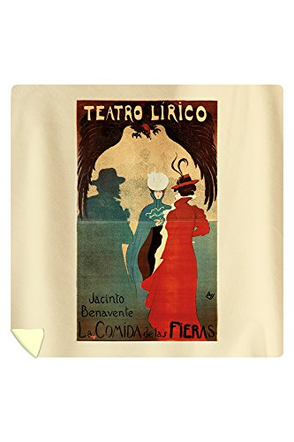 Teatro Lirico Vintage Poster (artist: Don Miguel Utrillo) Spain c. 1897 (88x88 Queen Microfiber Duvet Cover) by Lantern Press