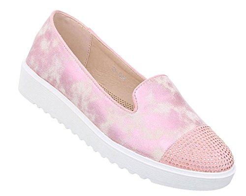 Damen Schuhe Halbschuhe Slipper Rosa