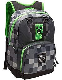 "Minecraft Creepy Creeper Kids School Backpack, Gray, 17"""
