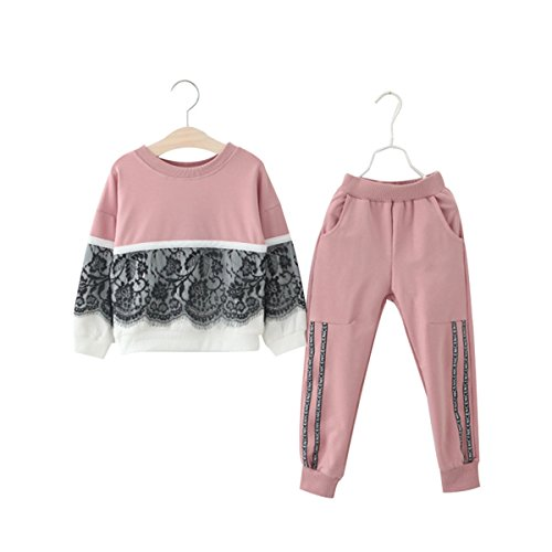 Toddler Girls Kids Floral Lace Sweatshirt+Pants Long Sleeve Outfit Tracksuit Set (Pink, 3T-4T)