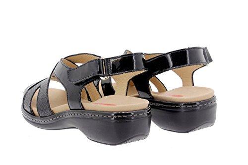 Calzado mujer confort de piel Piesanto 1813 Sandalia Plantilla Extraíble cómodo ancho Charol Negro