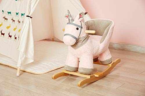 Rock My Baby Pink Rocking Unicorn with Chair,Plush Stuffed Animal Rocker,Wooden Rocking Toy Unicorn/Baby Rocker/Animal Ride on,Home Decor,for Girls,Indoor&Outdoor (Pink Unicorn) by Rock My Baby (Image #3)