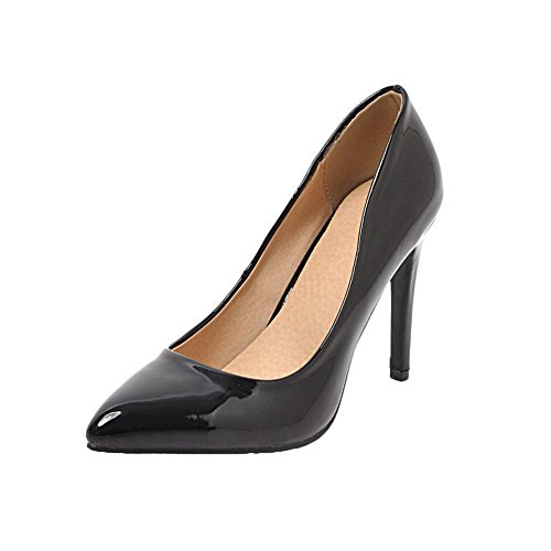 Vernice Weipoot Donne Pompe toe Pull Nero shoes Delle Alti Tacchi Solida on Chiuso 5EqBRd