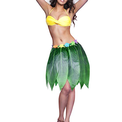 (Ti Leaf Hula Skirt Hawaiian Leaf Skirt Green Grass Skirt with Artificial Hibiscus Flowers for Beach,Luau Party Supplies(27in waist26in)