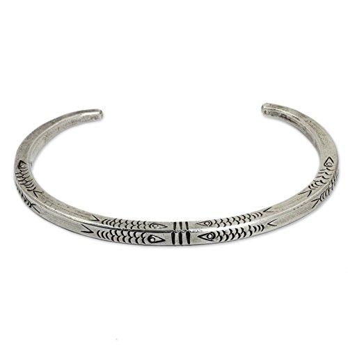 NOVICA .925 Sterling Silver Cuff Bracelet 'Hill Tribe (Hill Tribe Silver Fish)