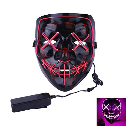 Uecoy Light up LED Smiling Stitched Purge Mask for Halloween, Rave, Festivals, and Cosplay (pink) for $<!--$24.99-->